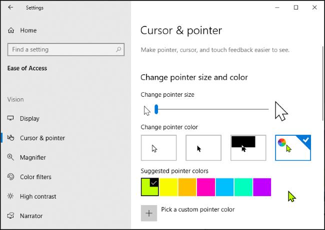 Sélection de la couleur du pointeur de la souris personnalisée dans l'application Paramètres de Windows 10 avec le curseur vert sélectionné.