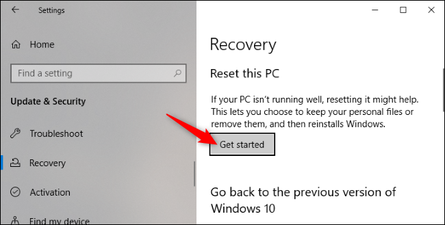 """Le """"Commencer"""" sous Réinitialiser ce PC dans l'application Paramètres de Windows 10."""