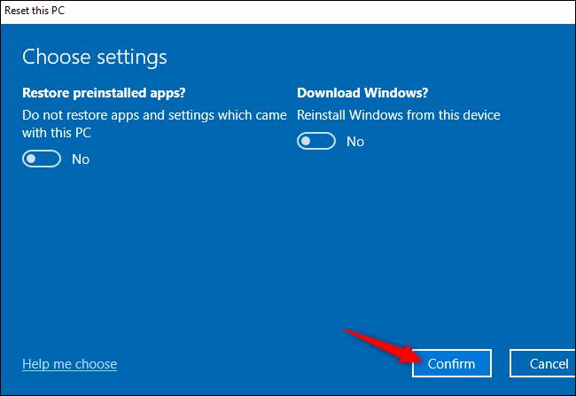 """Le """"Confirmer"""" bouton pour réinitialiser un PC Windows 10."""
