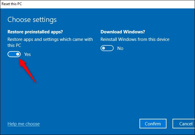 """Le """"Restaurer les applications préinstallées?"""" option pour effectuer un nouveau départ sur Windows 10."""