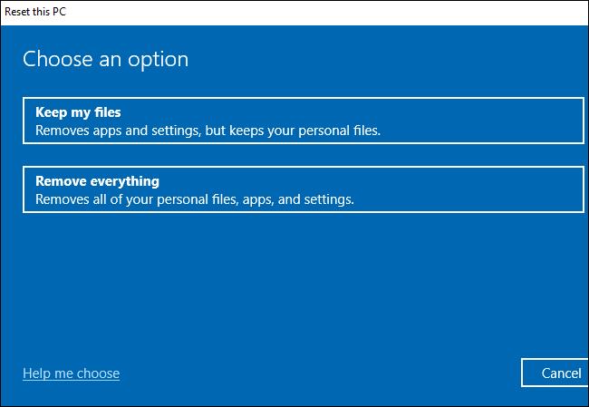Choisir de conserver ou de supprimer des fichiers lors de la réinitialisation de Windows 10.
