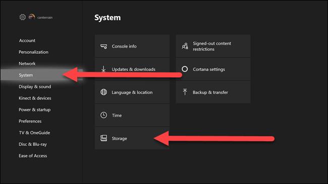 Menus des paramètres Xbox avec des flèches pointant vers les options système et de stockage.