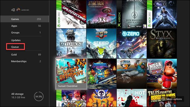 Menu Xbox mes jeux et applications avec boîte autour de l'option File d'attente.