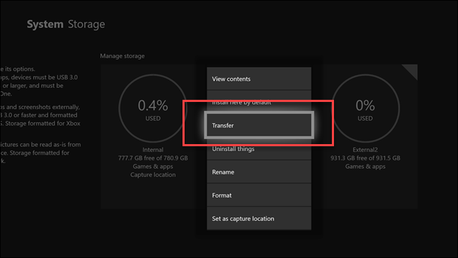 Sous-menu de stockage système avec appel sur l'option de transfert.