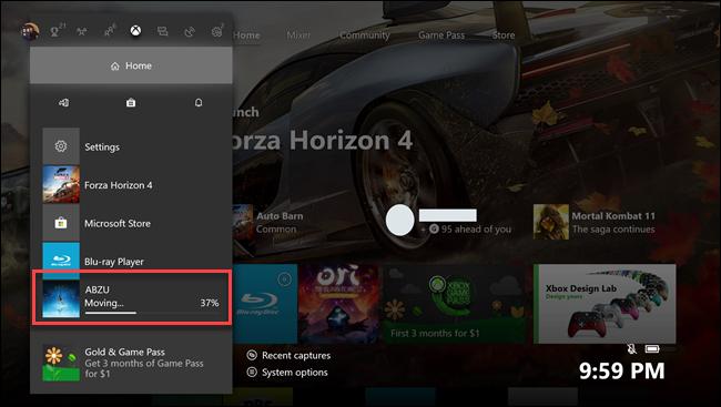 Sous-menu d'accueil Xbox One avec légende autour du jeu Abzu en transfert.