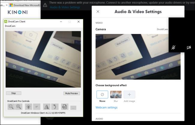 Le client DroidCam montrant un aperçu de la caméra d'un téléphone Android.