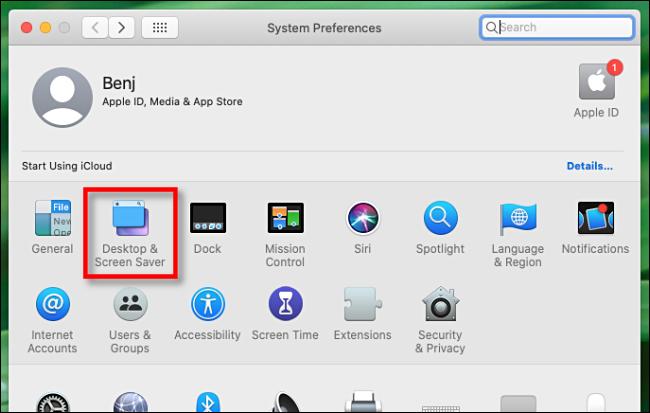 Sélectionnez Bureau et économiseur d'écran dans les préférences système Mac
