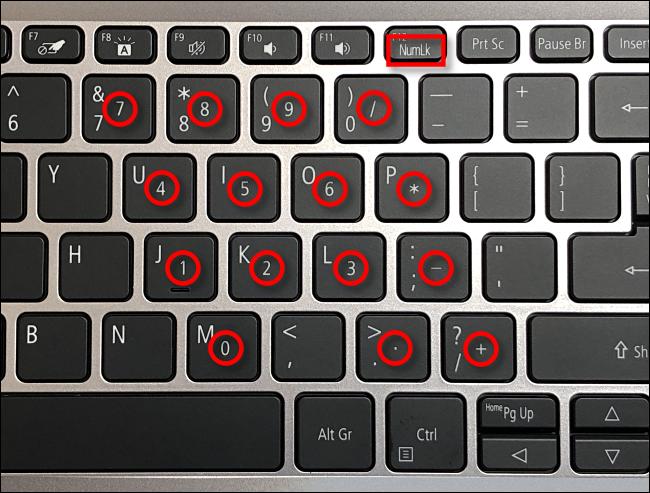 Exemple de touches de verrouillage numérique sur un clavier d'ordinateur portable