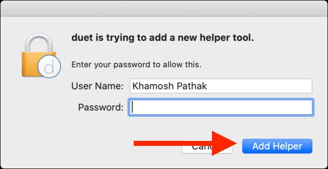 """Tapez votre mot de passe, puis cliquez sur """"Ajouter Helper."""""""