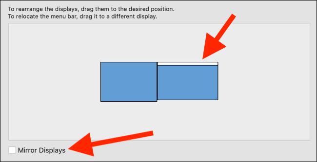 """Cliquez et maintenez le rectangle blanc pour le faire glisser sur l'écran Mac.  Cochez la case à côté de """"Écrans miroir"""" pour refléter l'affichage de votre Mac sur votre iPad."""