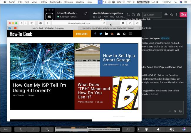 Un iPad utilisant Duet pour afficher l'écran d'un Mac.