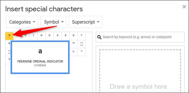 Cliquez sur un symbole pour l'insérer dans votre document.