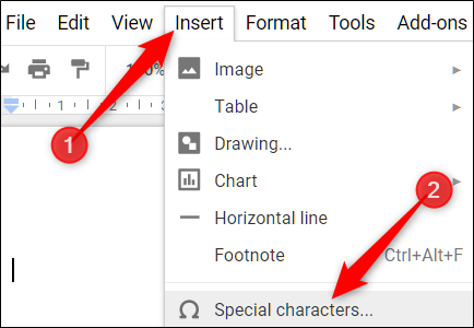Cliquez sur Insertion> Caractères spéciaux pour ouvrir l'outil d'insertion de symboles.» width=»434″ height=»300″ onload=»pagespeed.lazyLoadImages.loadIfVisibleAndMaybeBeacon(this);» onerror=»this.onerror=null;pagespeed.lazyLoadImages.loadIfVisibleAndMaybeBeacon(this);»/></p> <p>Lorsque la boîte de dialogue Caractères spéciaux s'ouvre, cliquez sur la liste déroulante sur la droite et cliquez sur «Exposant» dans la liste de choix.</p> <p><img loading=