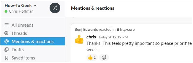 Affichage des mentions et des réactions dans Slack.
