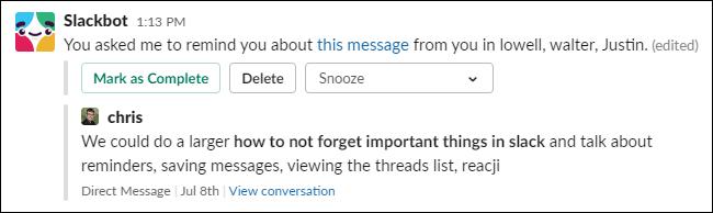 Un rappel concernant un message de Slackbot.