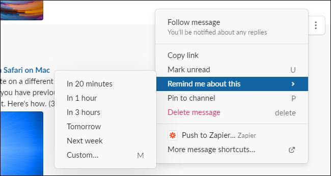 Créer un rappel dans Slack pour Windows, Mac ou le Web.