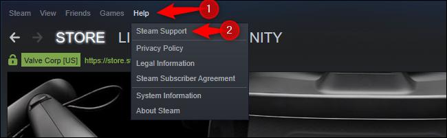 Option d'assistance Steam dans le menu Aide