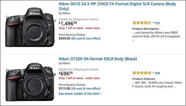 Liste Amazon montrant les boîtiers d'appareils photo Nikon