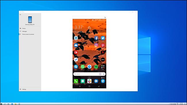 Écran du téléphone Android mis en miroir sur un PC Windows