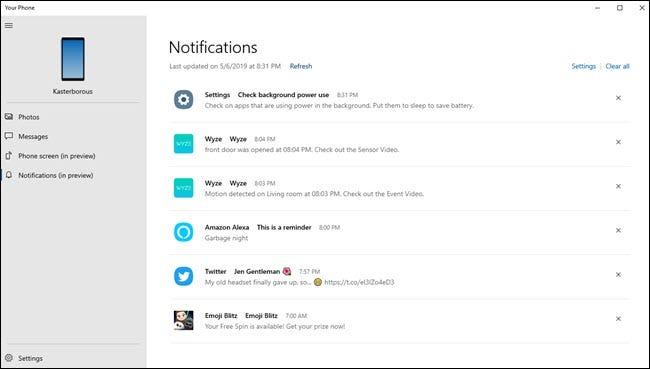 Votre application Phone PC affichant diverses notifications de Wyze, Alexa, les paramètres Android et Twitter.