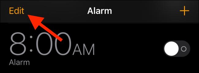 Appuyez sur le bouton Modifier dans la liste des alarmes