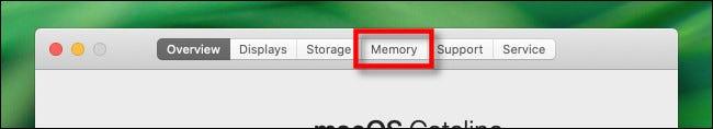 """Dans le """"À propos de ce Mac"""" fenêtre, cliquez sur la """"Mémoire"""" languette."""