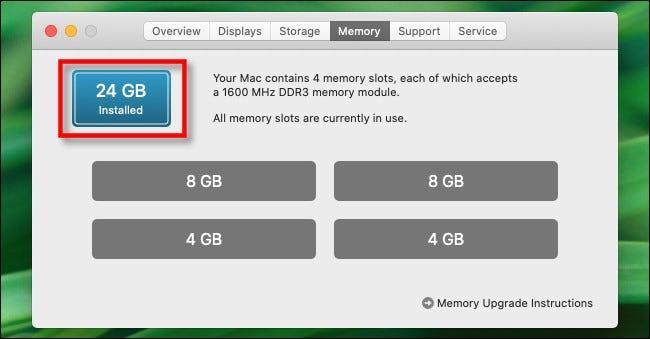 """Dans le """"Mémoire"""" onglet, vous verrez la quantité totale de mémoire installée."""
