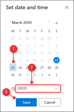 Le panneau de sélection d'une date et d'une heure de répétition personnalisées.