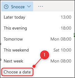"""Le """"Choisissez une date"""" option."""