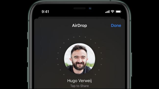AirDrop sur un iPhone 11 Pro.