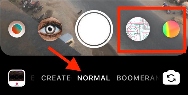 """Robinet """"Normal"""" si vous n'êtes pas dans ce mode et que les effets Instagram apparaissent."""
