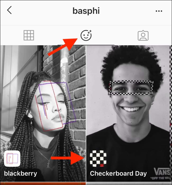 La section Effets d'un profil Instagram.