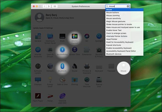 Résultats de la recherche dans les préférences système sur Mac