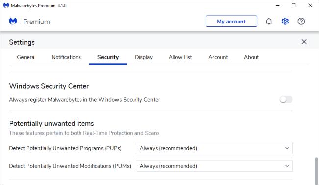 Configuration de Malwarebytes Premium pour ne pas s'enregistrer dans le Centre de sécurité Windows