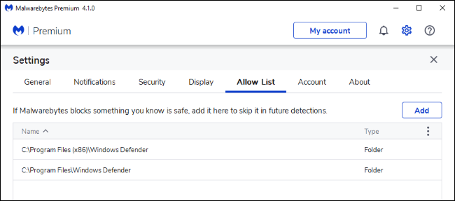 Ajout d'exclusions pour Windows Defender à la liste verte de Malwarebytes.