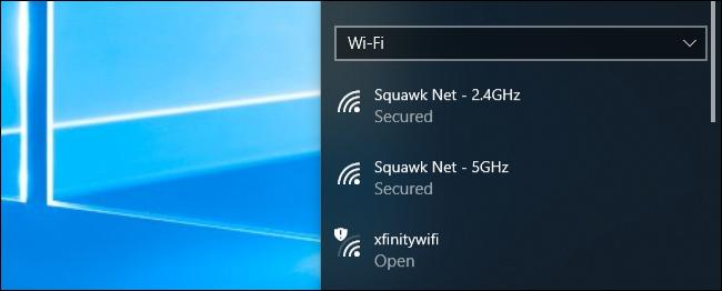 Menu de connexion au réseau Wi-Fi sous Windows 10
