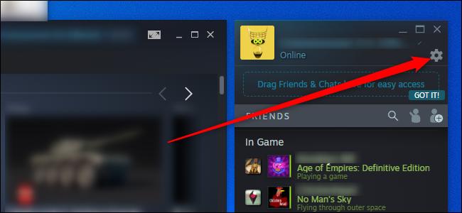 Menu des paramètres de Steam Friends