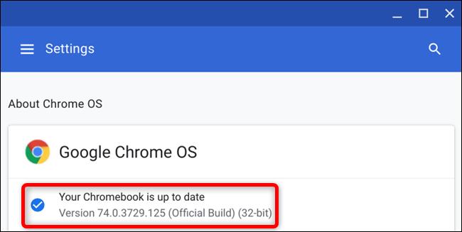 Une fois votre Chromebook redémarré, vous verrez que votre Chromebook est à jour lorsque vous recherchez des mises à jour
