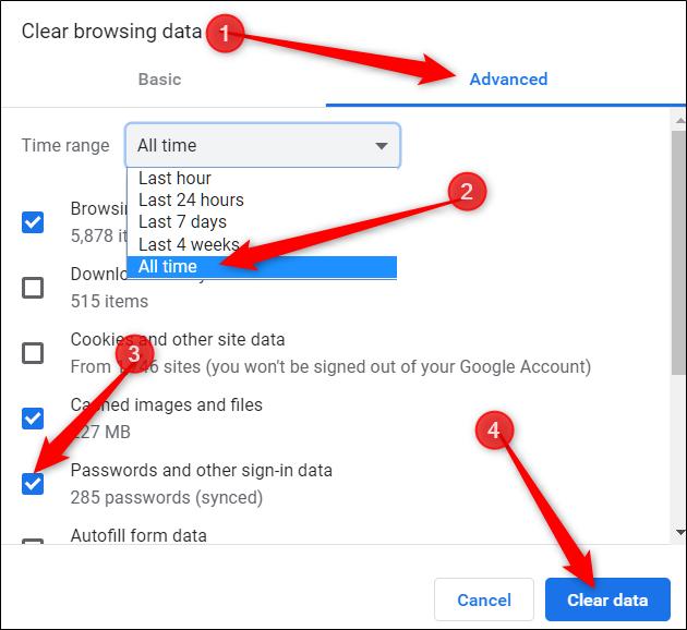 Cliquez sur l'onglet avancé, choisissez à tout moment dans le menu, cochez les mots de passe comme option, puis cliquez sur Effacer les données