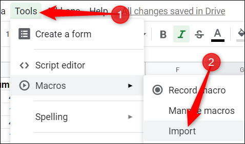 Cliquez sur Outils> Macros> Importer pour importer les macros dans ce document» width=»478″ height=»282″ onload=»pagespeed.lazyLoadImages.loadIfVisibleAndMaybeBeacon(this);» onerror=»this.onerror=null;pagespeed.lazyLoadImages.loadIfVisibleAndMaybeBeacon(this);»/></p> <p>Enfin, cliquez sur «Ajouter une fonction» sous la macro que vous souhaitez ajouter.</p> <p><img loading=