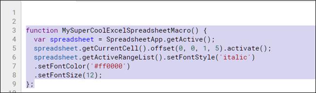Mettez en surbrillance et copiez la fonction de la macro avec Ctrl + C