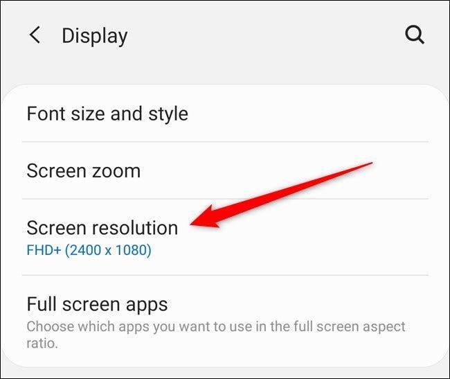 """Samsung Galaxy S20 Appuyez sur le """"Résolution d'écran"""" Bouton"""