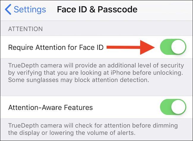 """Basculez le commutateur Exiger l'attention pour l'identification de visage """"Désactivé"""" positionner."""