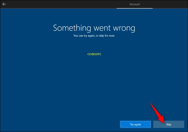 Ignorer la création de compte Microsoft lors de l'installation de Windows 10.
