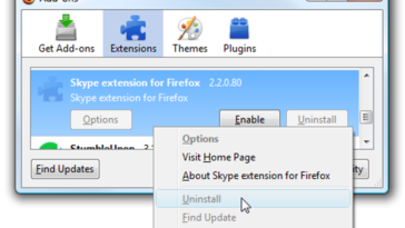 Supprimer manuellement l'extension Skype de Firefox