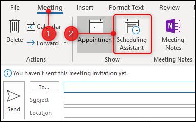 cliquez sur l'assistant de planification dans l'onglet réunion