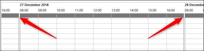 les heures de réunion indiquent de 8 h à 17 h par défaut