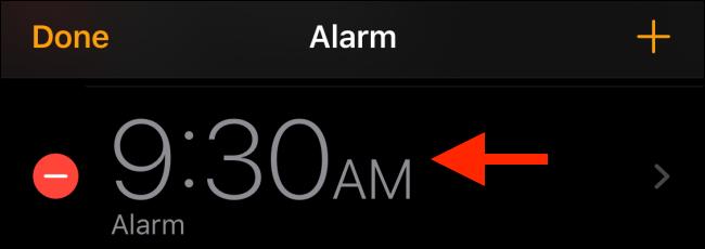 Choisissez l'alarme que vous souhaitez modifier