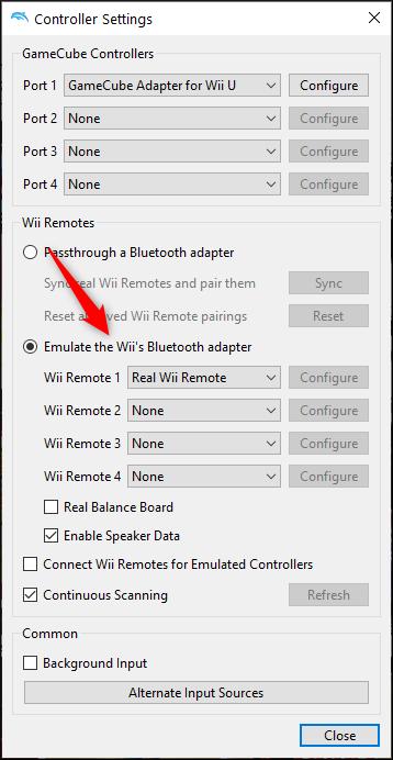 """Sélectionner """"Émuler l'adaptateur Bluetooth de la Wii"""" et sélectionnez la télécommande Wii"""