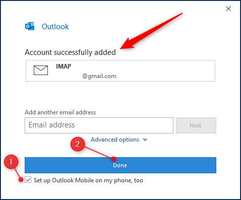 """Outlook """"compte ajouté"""" page."""